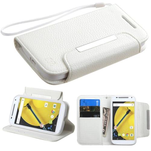 Insten Leather Fabric Case Lanyard w/stand/card holder For Motorola Moto E(2nd Gen),White