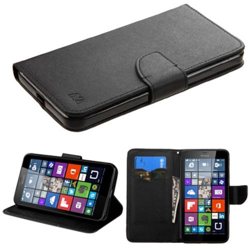Insten Folio Leather Fabric Case w/stand/card slot For Microsoft Lumia 640 XL, Black