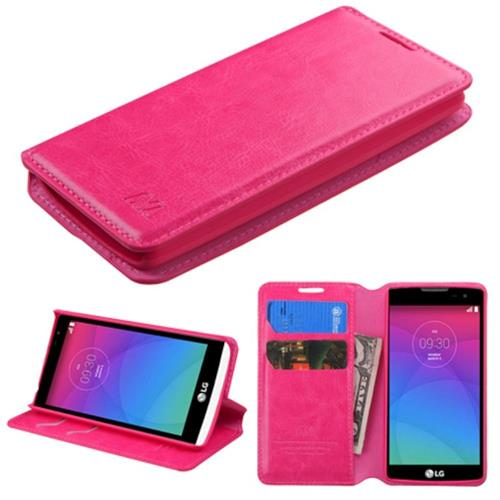 Insten Book-Style Leather Fabric Case w/stand/card slot For LG Leon, Hot Pink