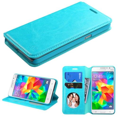 Insten Book-Style Leather Fabric Case w/stand/card slot For Samsung Galaxy Grand Prime, Blue