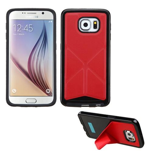 Insten TPU Case w/stand For Samsung Galaxy S6, Red/Black