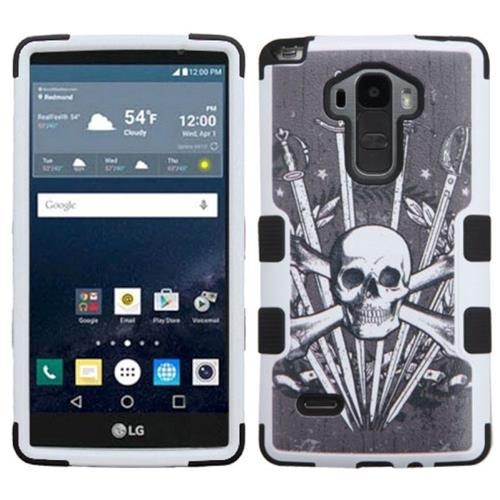 Insten Tuff Sword Skull Hard Hybrid Rubber Silicone Case For LG G Stylo, Black/White