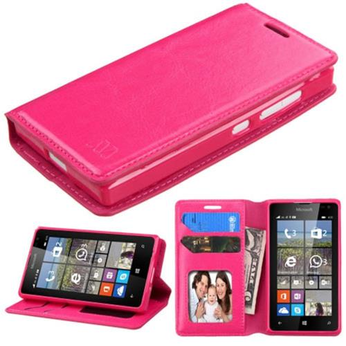 Insten Leather Fabric Case w/stand/card holder For Microsoft Lumia 435,Hot Pink