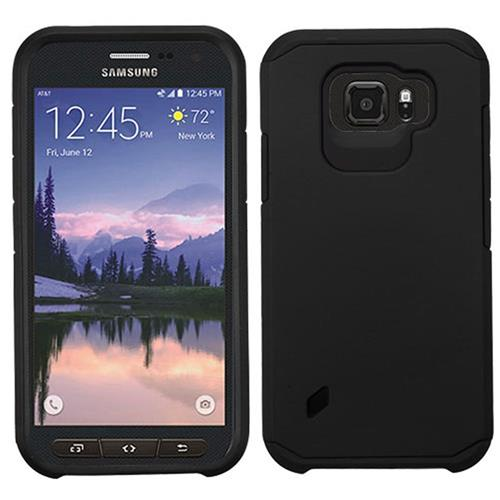 Insten Hard Dual Layer Rubber Coated Silicone Case For Samsung Galaxy S6 Active, Black