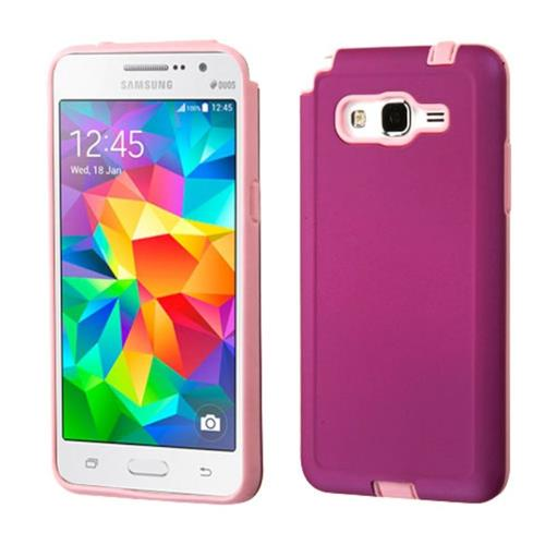Insten Hard Dual Layer Rubberized Silicone Cover Case For Samsung Galaxy Grand Prime, Purple/Pink