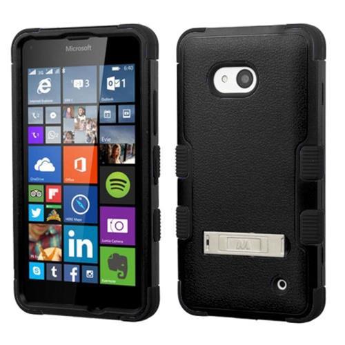 Insten Hard Hybrid Silicone Case w/stand For Microsoft Lumia 640(Metro PCS)/640(T-mobile), Black