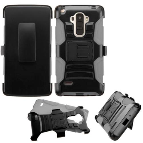 Insten Symbiosis Hard Hybrid Plastic Silicone Cover Case w/Holster For LG G Stylo, Black/Gray