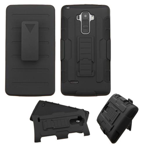 Insten Hard Hybrid Plastic Silicone Cover Case w/Holster For LG G Stylo, Black