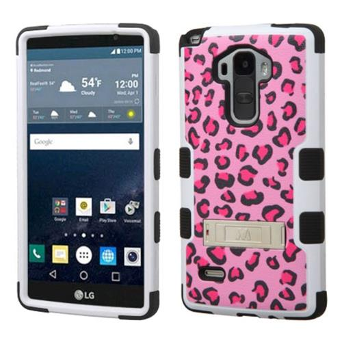 Insten Tuff Leopard Hard Hybrid Rubber Coated Silicone Case w/stand For LG G Stylo,Hot Pink/Black