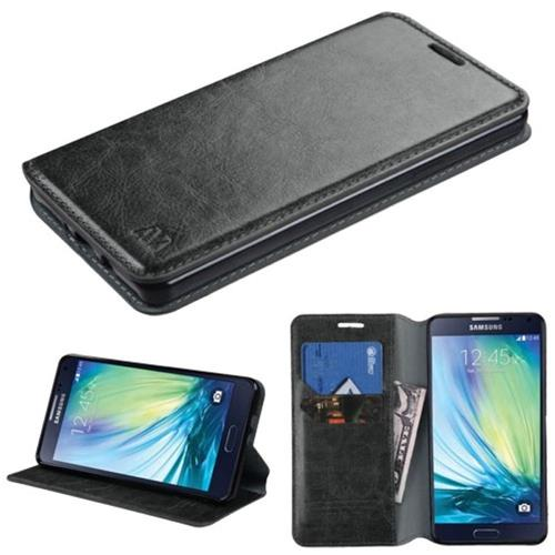 Insten Book-Style Leather Fabric Cover Case w/stand/card holder For Samsung Galaxy A7, Black