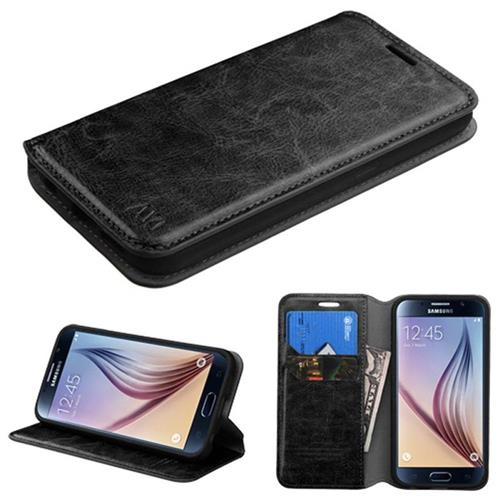 Insten Folio Leather Fabric Cover Case w/stand/card slot For Samsung Galaxy S6, Black