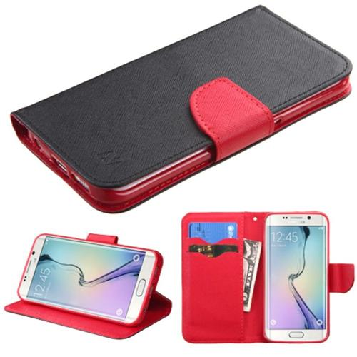 Insten Book-Style Leather Fabric Cover Case w/stand/card slot For Samsung Galaxy S6 Edge, Black/Red