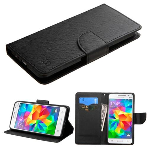Insten Folio Leather Fabric Cover Case w/stand/card slot For Samsung Galaxy Grand Prime, Black