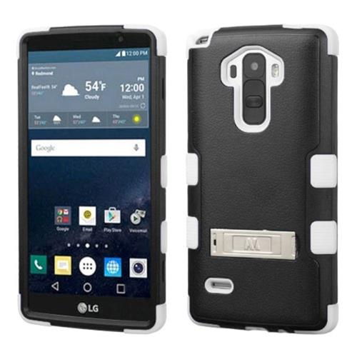 Insten Hard Hybrid Rubber Coated Silicone Cover Case w/stand For LG G Stylo, Black/White