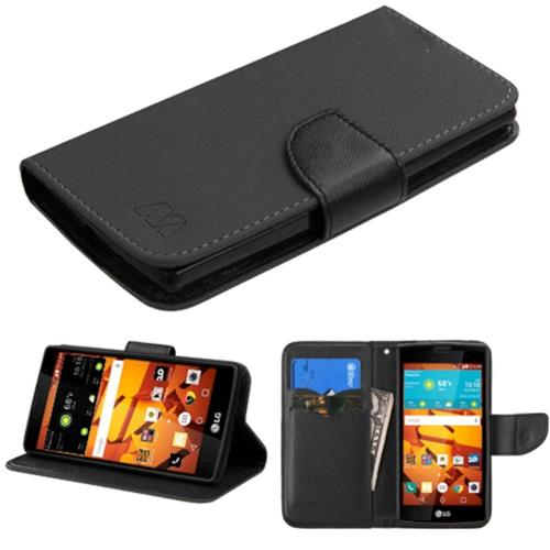 Insten Folio Leather Fabric Case w/stand/card slot For LG Magna/Volt 2, Black