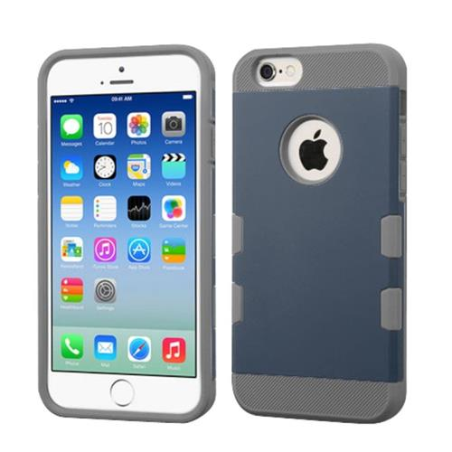 Insten Hard Rubber Silicone Case For Apple iPhone 6/6s, Blue/Gray