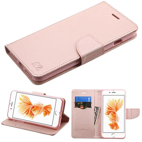 Insten Book-Style Leather Fabric Case w/stand/card holder For Apple iPhone 7 Plus/8 Plus, Rose Gold