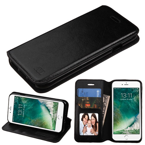 Insten Book-Style Leather Fabric Case w/stand/card slot For Apple iPhone 7/iPhone 8, Black
