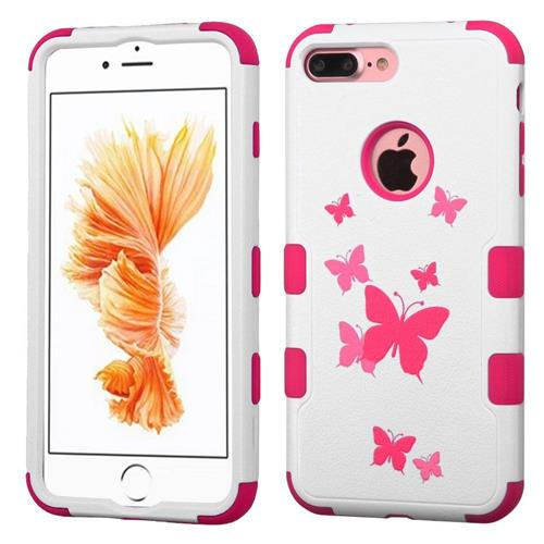 Insten Tuff Butterfly Dancing Hybrid Dual Layer Case For Apple iPhone 7 Plus,Pink/White