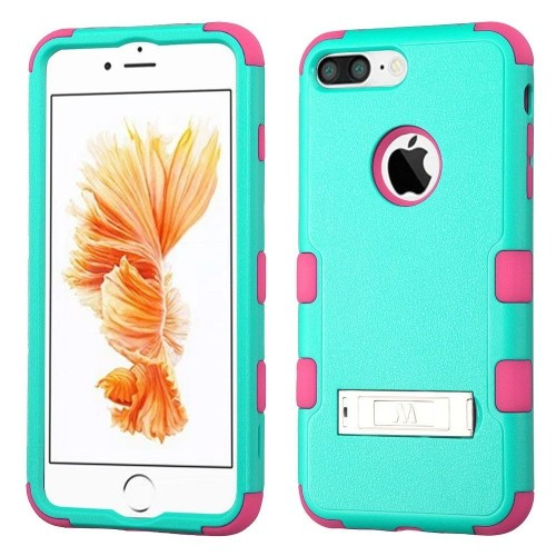 Insten Hard Hybrid Rubberized Silicone Cover Case w/stand For Apple iPhone 7 Plus/8 Plus, Teal/Pink