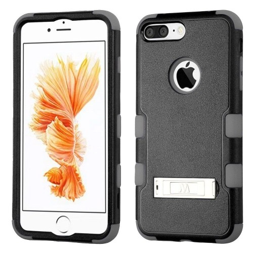 Insten Hard Hybrid Silicone Cover Case w/stand For Apple iPhone 7 Plus/8 Plus, Black/Gray