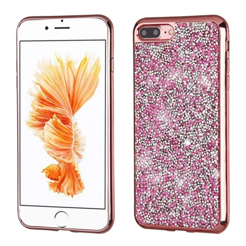 iphone 7 plus rose gold. insten hard diamante cover case for apple iphone 7 plus/8 plus, rose gold iphone plus