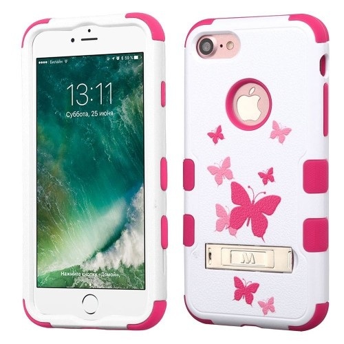 Insten Butterfly Dancing Hard Hybrid Silicone Case w/stand For Apple iPhone 7/iPhone 8,Pink/White