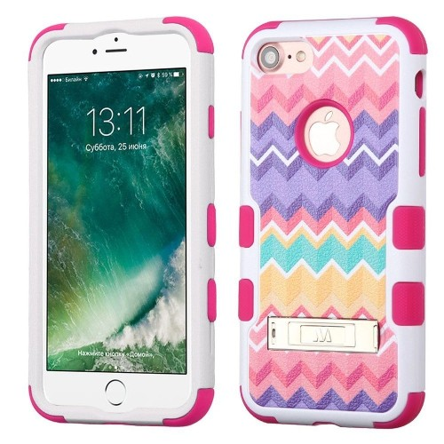 Insten Camo Wave Hard Rubber Silicone Case w/stand For Apple iPhone 7/iPhone 8,Pink/Purple