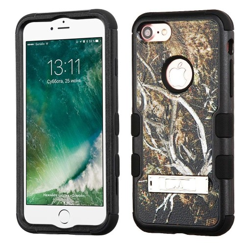 Insten Tuff Vines Hard Hybrid Silicone Case w/stand For Apple iPhone 7/iPhone 8, Yellow/Black