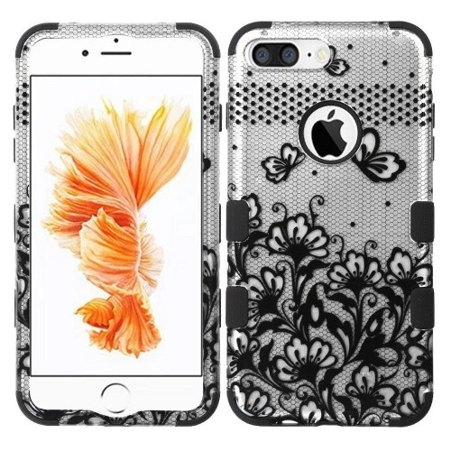 Insten Lace Flowers Hard Hybrid Rubber Coated Silicone Case For Apple iPhone 7 Plus/8 Plus, Black