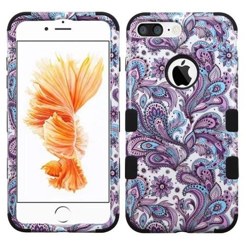 Insten European Flowers Hard Dual Layer Silicone Case For Apple iPhone 7 Plus/8 Plus,Purple/White
