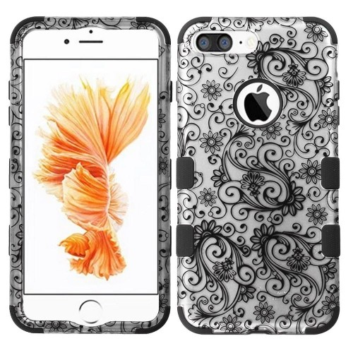 Insten Four-leaf Clover Hard Hybrid Rubber Silicone Cover Case For Apple iPhone 7 Plus/8 Plus, Black