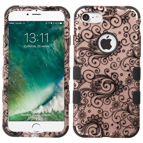 Insten Four-leaf Clover Hard Hybrid Rubber Silicone Case For Apple iPhone 7/iPhone 8,Rose Gold/Black