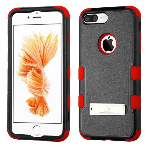 Insten Hard Dual Layer Rubber Coated Silicone Case w/stand For Apple iPhone 7 Plus/8 Plus, Black/Red