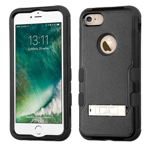 Insten Hard Hybrid Silicone Case w/stand For Apple iPhone 7/iPhone 8, Black