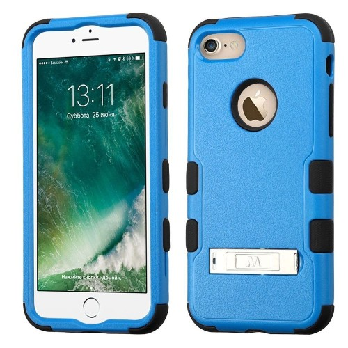 Insten Hard Hybrid Rubber Silicone Cover Case w/stand For Apple iPhone 7/iPhone 8, Blue/Black