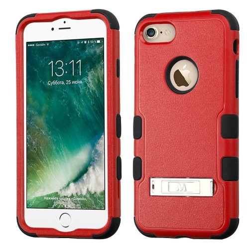 Insten Hard Dual Layer Silicone Case w/stand For Apple iPhone 7/iPhone 8, Red/Black