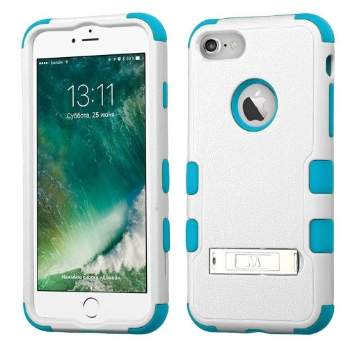 Insten Hard Hybrid Rubberized Silicone Cover Case w/stand For Apple iPhone 7/iPhone 8, White/Blue