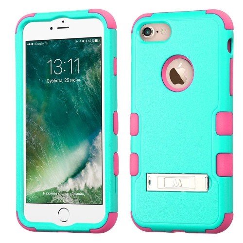 Insten Hard Dual Layer Rubberized Silicone Case w/stand For Apple iPhone 7/iPhone 8, Teal/Pink