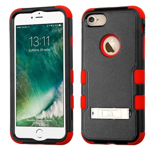 Insten Hard Dual Layer Rubberized Silicone Case w/stand For Apple iPhone 7/iPhone 8, Black/Red