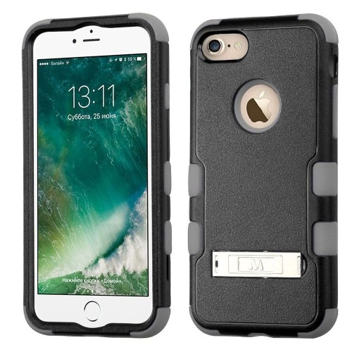 Insten Hard Dual Layer Rubberized Silicone Case w/stand For Apple iPhone 7/iPhone 8, Black/Gray