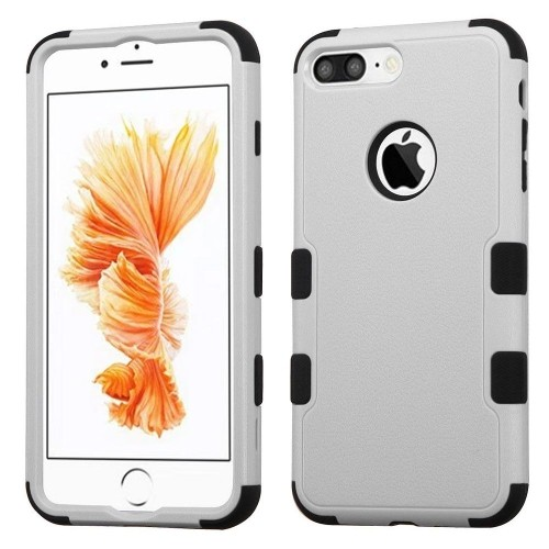 Insten Hard Dual Layer Rubber Coated Silicone Cover Case For Apple iPhone 7 Plus/8 Plus, Gray/Black