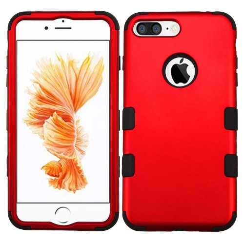 Insten Tuff Hard Hybrid Silicone Cover Case For Apple iPhone 7 Plus/8 Plus, Red/Black