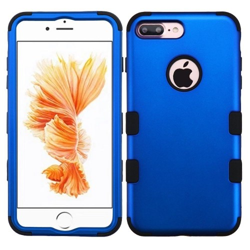 Insten Hard Dual Layer Rubber Coated Silicone Cover Case For Apple iPhone 7 Plus/8 Plus, Blue/Black