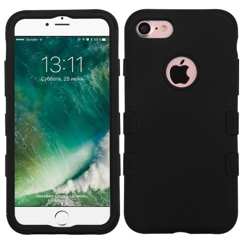 Insten Tuff Hard Hybrid Rubberized Silicone Cover Case For Apple iPhone 7/iPhone 8, Black