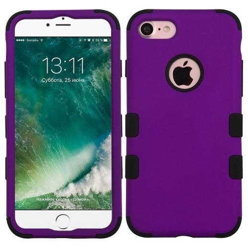 Insten Tuff Hard Hybrid Rubberized Silicone Case For Apple iPhone 7/iPhone 8, Purple/Black