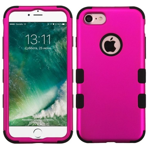 Insten Tuff Hard Dual Layer Silicone Cover Case For Apple iPhone 7/iPhone 8, Hot Pink/Black