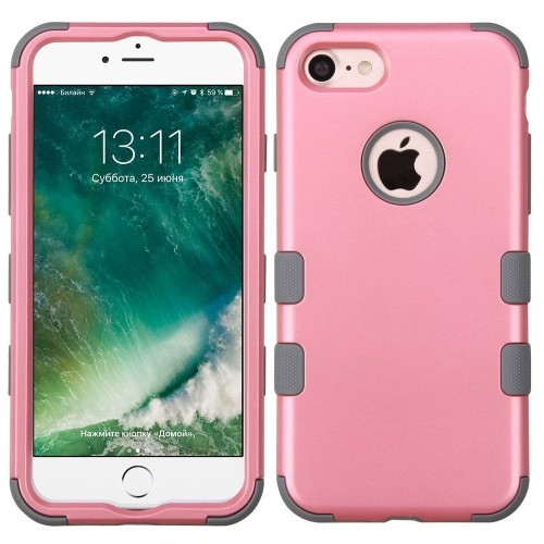 Insten Tuff Hard Dual Layer Silicone Case For Apple iPhone 7/iPhone 8, Pink/Gray