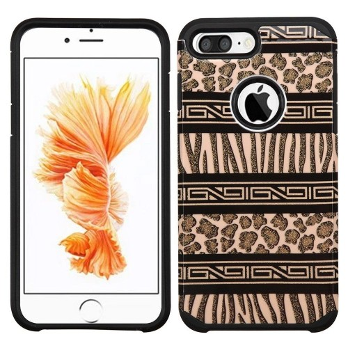 Insten Zebra Hard Rubberized Silicone Cover Case For Apple iPhone 7 Plus/8 Plus, Brown/Black