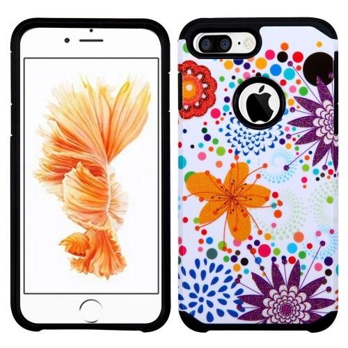 Insten Flower Buds Hard Hybrid Cover Case For Apple iPhone 7 Plus/8 Plus, Purple/White